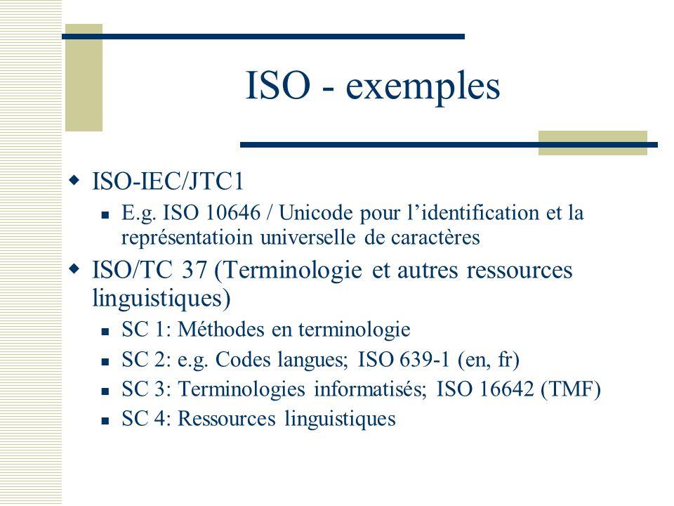 ISO - exemples ISO-IEC/JTC1 E.g. ISO 10646 / Unicode pour lidentification et la représentatioin universelle de caractères ISO/TC 37 (Terminologie et a