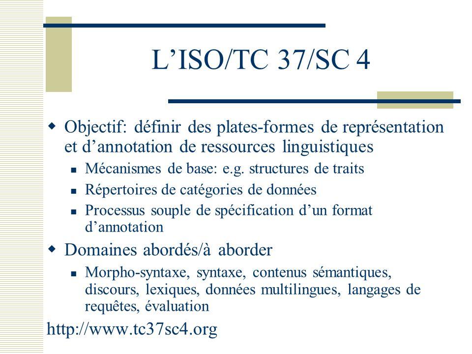 LISO/TC 37/SC 4 Objectif: définir des plates-formes de représentation et dannotation de ressources linguistiques Mécanismes de base: e.g. structures d