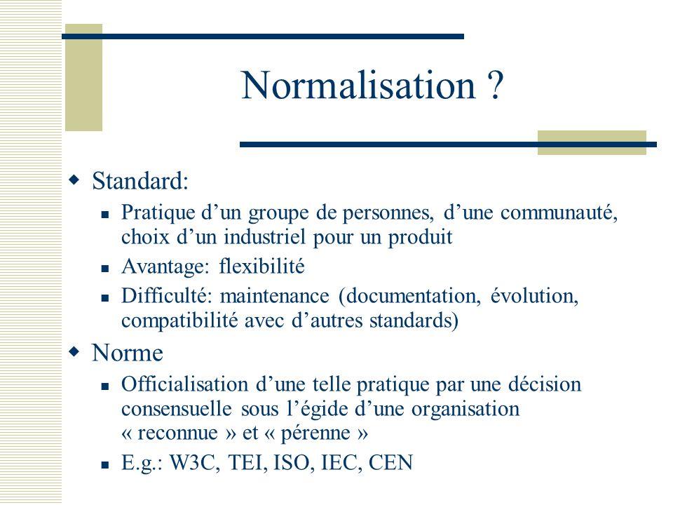 Normalisation ? Standard: Pratique dun groupe de personnes, dune communauté, choix dun industriel pour un produit Avantage: flexibilité Difficulté: ma