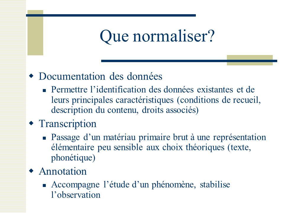 Que normaliser? Documentation des données Permettre lidentification des données existantes et de leurs principales caractéristiques (conditions de rec