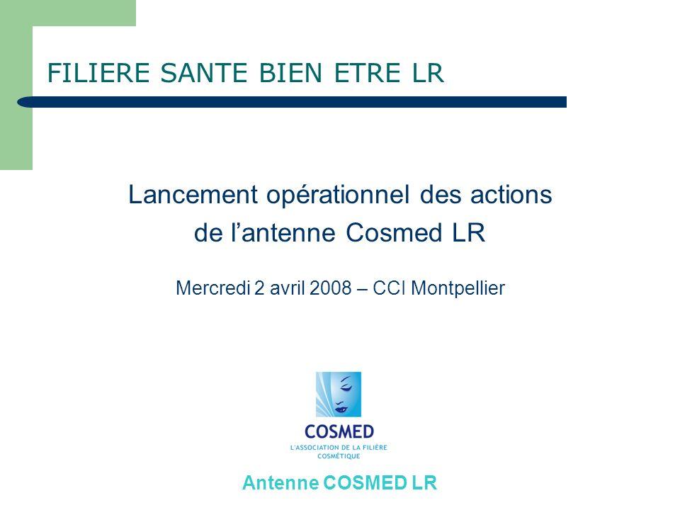 FILIERE SANTE BIEN ETRE LR Lancement opérationnel des actions de lantenne Cosmed LR Mercredi 2 avril 2008 – CCI Montpellier Antenne COSMED LR