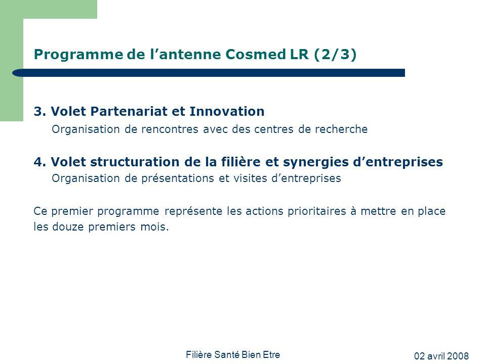 02 avril 2008 Filière Santé Bien Etre Programme de lantenne Cosmed LR (2/3) 3. Volet Partenariat et Innovation Organisation de rencontres avec des cen