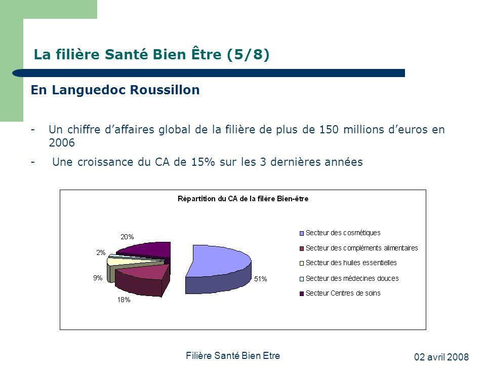 02 avril 2008 Filière Santé Bien Etre La filière Santé Bien Être (5/8) En Languedoc Roussillon -Un chiffre daffaires global de la filière de plus de 1