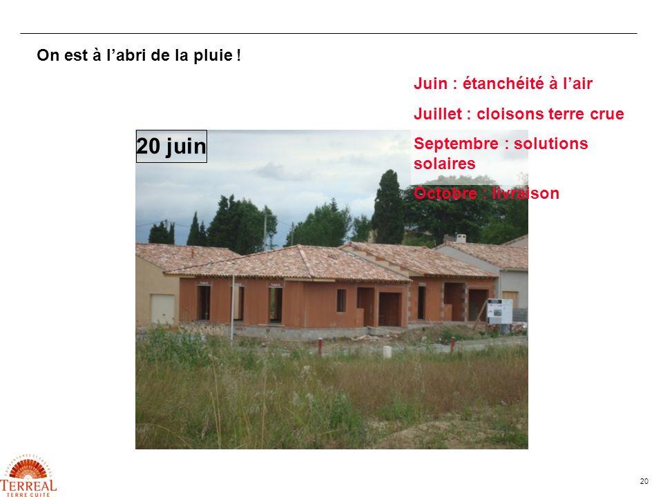 20 On est à labri de la pluie ! 20 juin Juin : étanchéité à lair Juillet : cloisons terre crue Septembre : solutions solaires Octobre : livraison