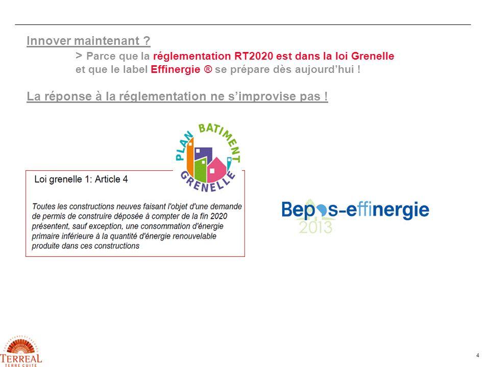 4 Innover maintenant ? > Parce que la réglementation RT2020 est dans la loi Grenelle et que le label Effinergie ® se prépare dès aujourdhui ! La répon