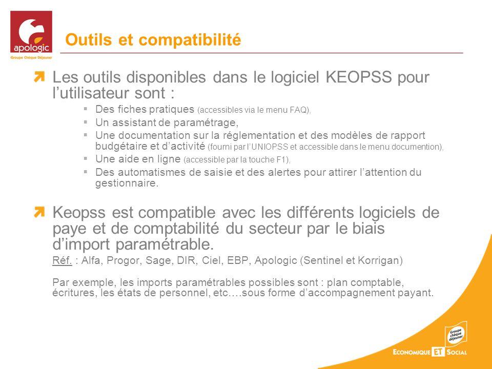 Outils et compatibilité Les outils disponibles dans le logiciel KEOPSS pour lutilisateur sont : Des fiches pratiques (accessibles via le menu FAQ), Un