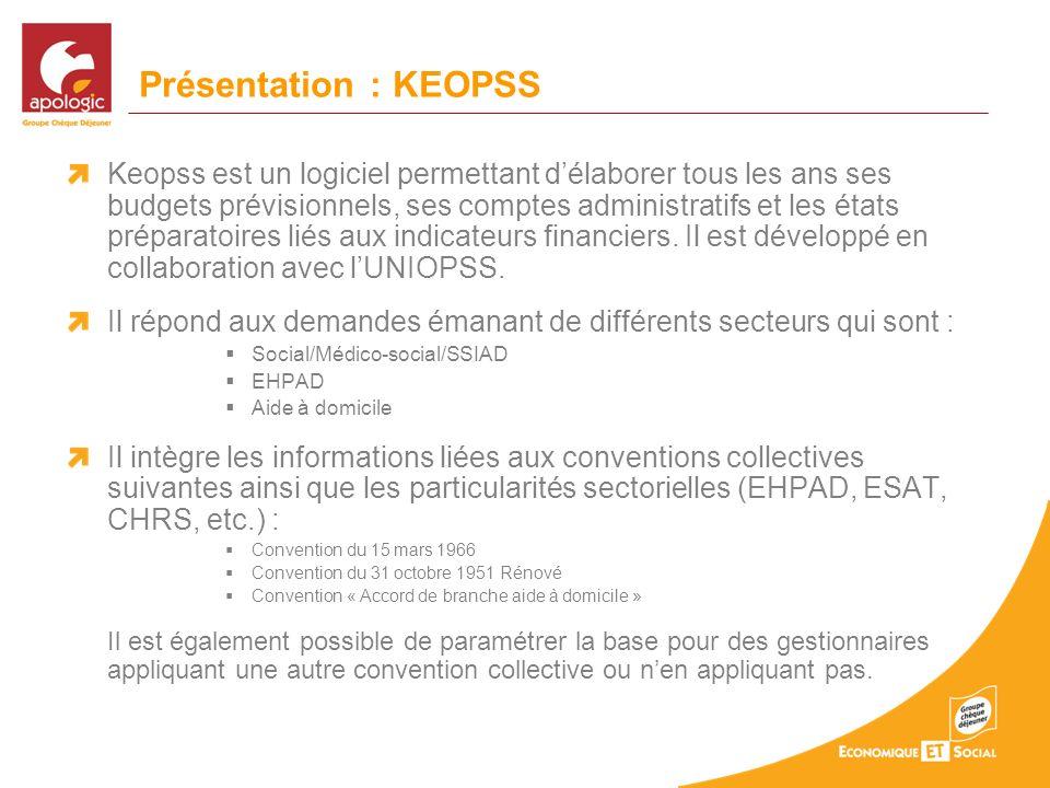 Présentation : KEOPSS Keopss est un logiciel permettant délaborer tous les ans ses budgets prévisionnels, ses comptes administratifs et les états préparatoires liés aux indicateurs financiers.