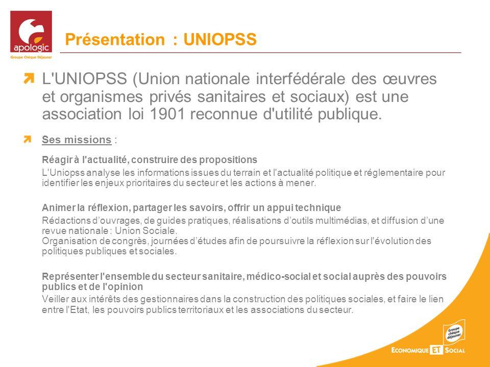 Présentation : UNIOPSS L'UNIOPSS (Union nationale interfédérale des œuvres et organismes privés sanitaires et sociaux) est une association loi 1901 re