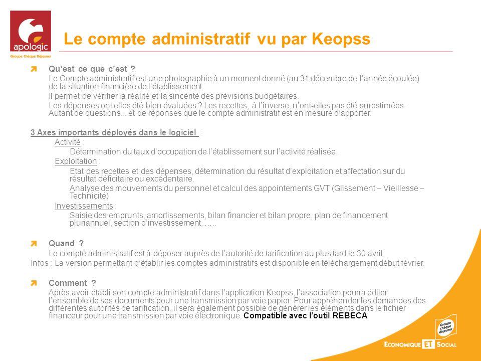 Le compte administratif vu par Keopss Quest ce que cest ? Le Compte administratif est une photographie à un moment donné (au 31 décembre de lannée éco