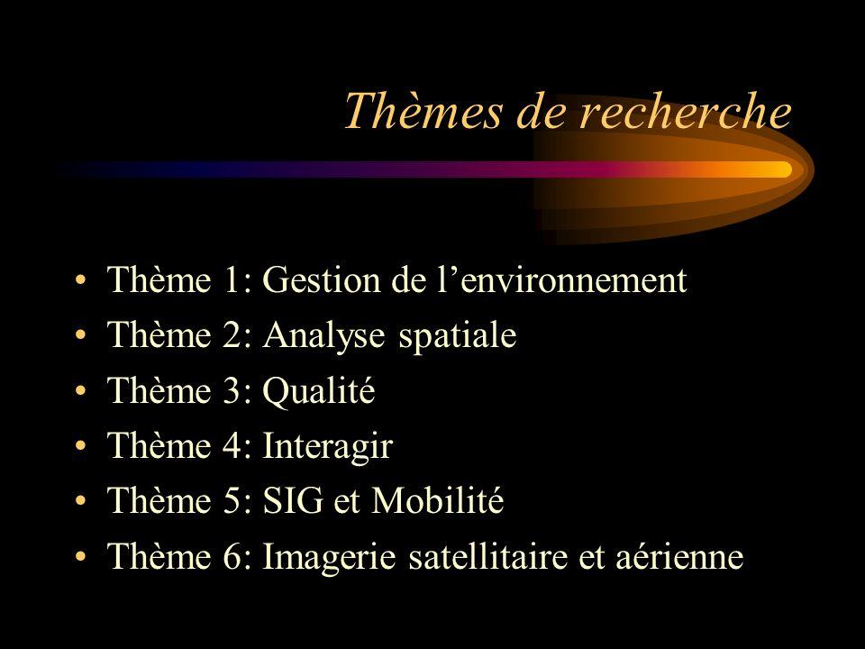 Thèmes de recherche Thème 1: Gestion de lenvironnement Thème 2: Analyse spatiale Thème 3: Qualité Thème 4: Interagir Thème 5: SIG et Mobilité Thème 6: Imagerie satellitaire et aérienne