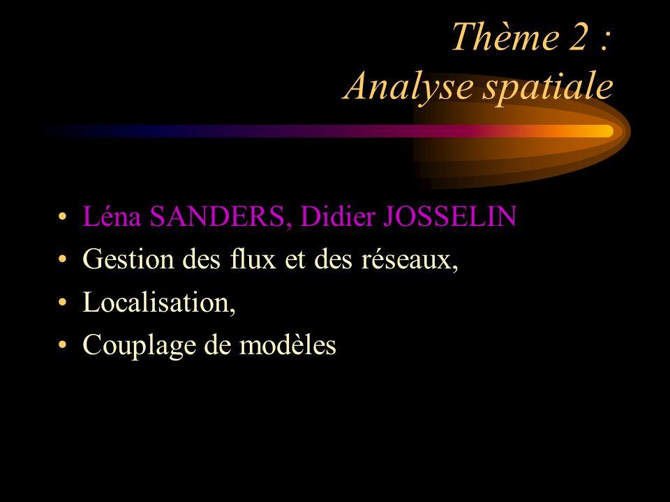 Thème 2 : Analyse spatiale Léna SANDERS, Didier JOSSELIN Gestion des flux et des réseaux, Localisation, Couplage de modèles