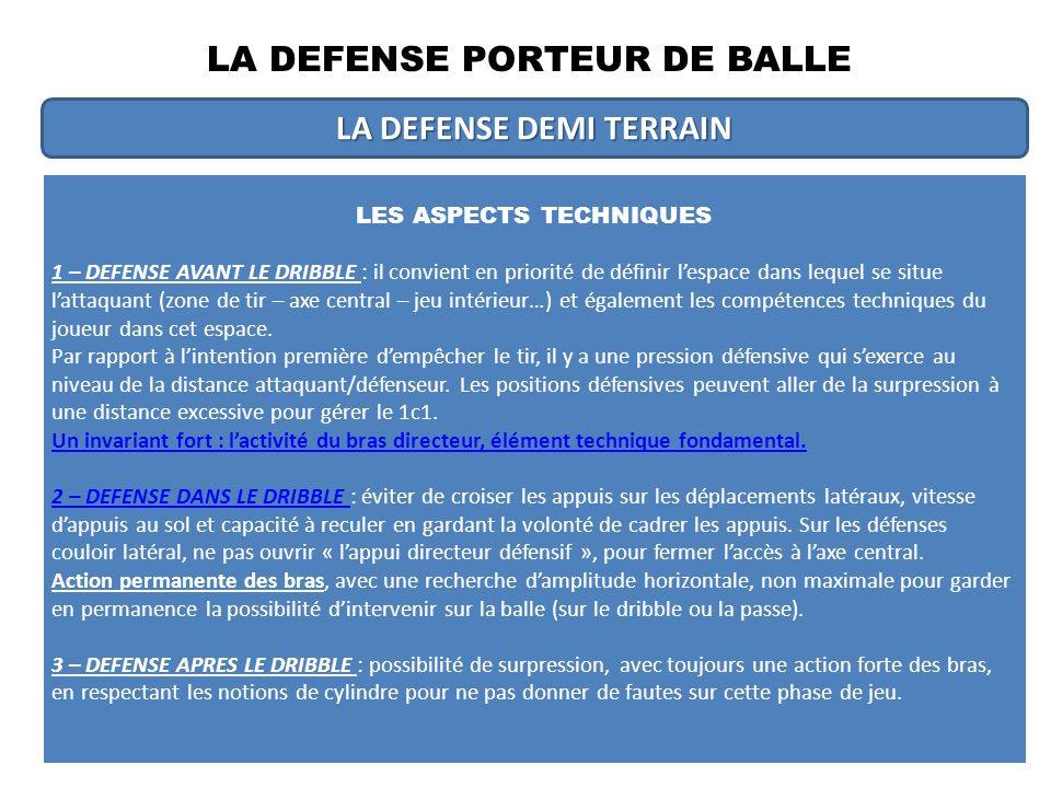 LA DEFENSE PORTEUR DE BALLE LA DEFENSE PAR POSTE DE JEU Partir des caractéristiques en fonction des postes de jeu, pour déterminer ce quel secteur offensif la défense souhaite réduire ou diminuer.