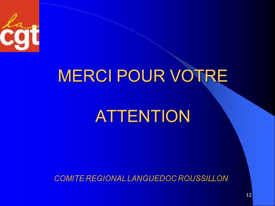 12 MERCI POUR VOTRE ATTENTION COMITE REGIONAL LANGUEDOC ROUSSILLON