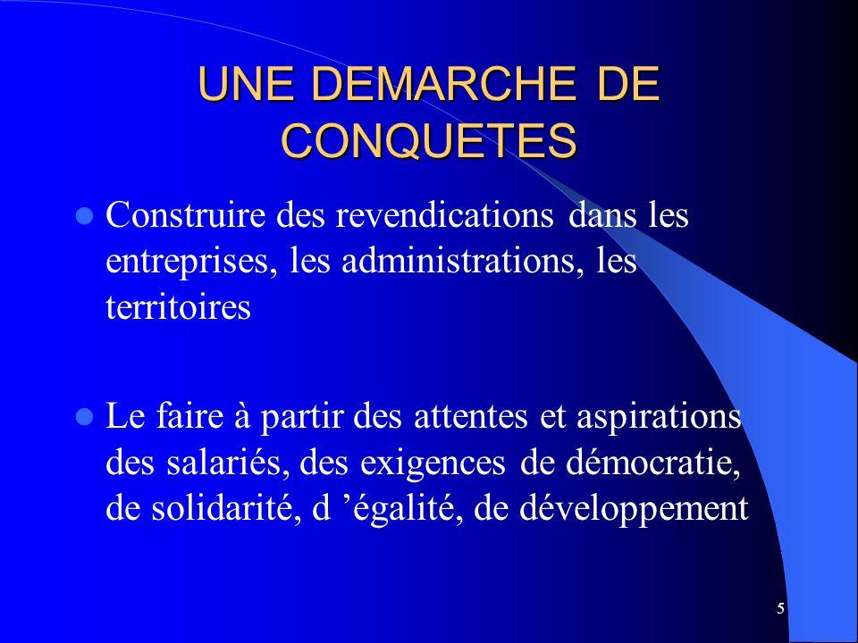 5 UNE DEMARCHE DE CONQUETES Construire des revendications dans les entreprises, les administrations, les territoires Le faire à partir des attentes et aspirations des salariés, des exigences de démocratie, de solidarité, d égalité, de développement