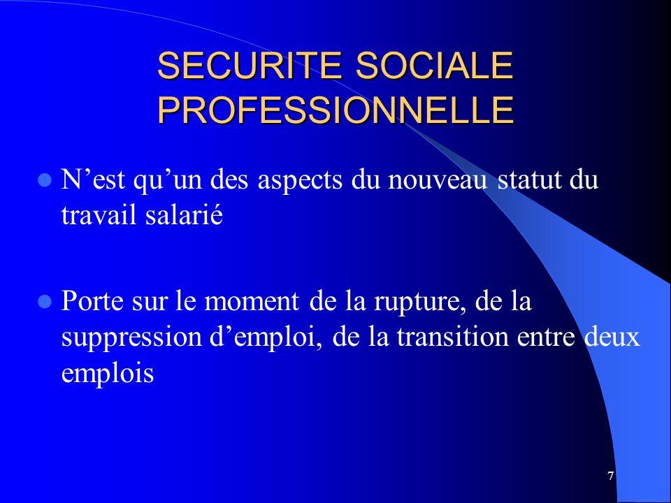 7 SECURITE SOCIALE PROFESSIONNELLE Nest quun des aspects du nouveau statut du travail salarié Porte sur le moment de la rupture, de la suppression demploi, de la transition entre deux emplois