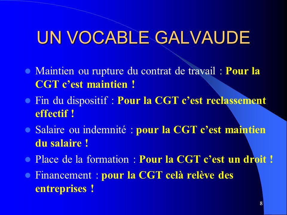 8 UN VOCABLE GALVAUDE Maintien ou rupture du contrat de travail : Pour la CGT cest maintien .