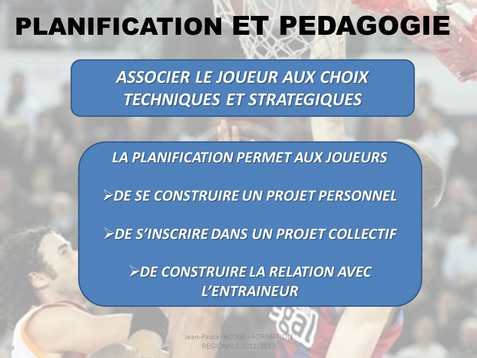 PLANIFICATION ET ORGANISATION DE SEANCES CHOIX DES THEMES TECHNIQUES PRIORITAIRES REPARTITION DES QUANTITES DE TRAVAIL PAR THEMES GESTION DES EMOTIONS vis-à-vis DE LA COMPETITION Jean-Pascal BOISSE - FORMATION REGIONALE 2012/2013
