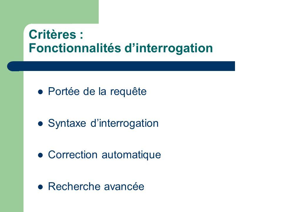 Critères : Fonctionnalités dinterrogation Portée de la requête Syntaxe dinterrogation Correction automatique Recherche avancée