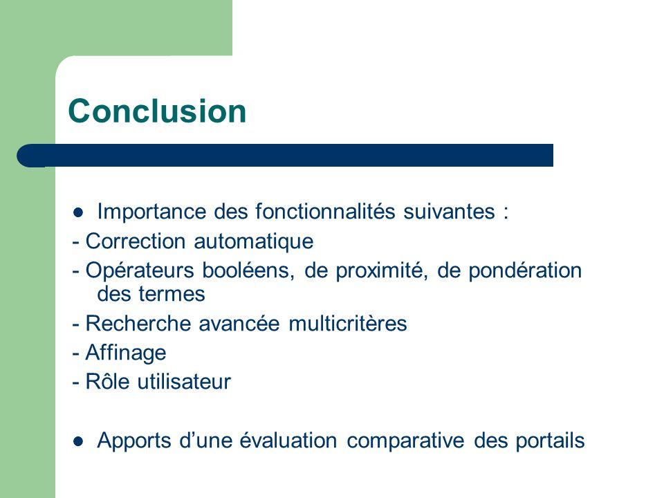 Conclusion Importance des fonctionnalités suivantes : - Correction automatique - Opérateurs booléens, de proximité, de pondération des termes - Recher