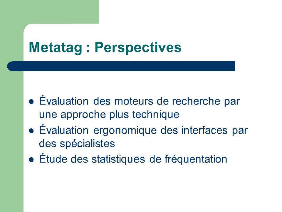 Metatag : Perspectives Évaluation des moteurs de recherche par une approche plus technique Évaluation ergonomique des interfaces par des spécialistes