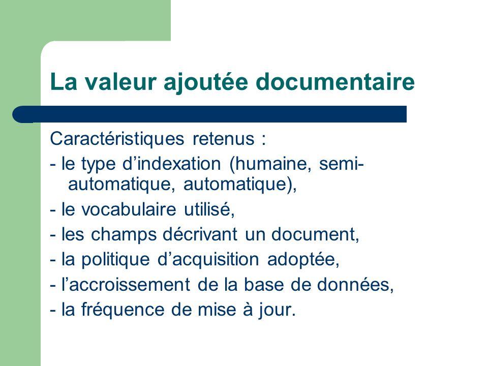 La valeur ajoutée documentaire Caractéristiques retenus : - le type dindexation (humaine, semi- automatique, automatique), - le vocabulaire utilisé, -