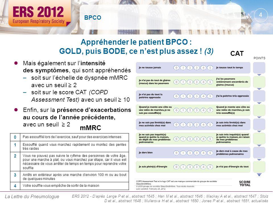 BPCO Mais également sur lintensité des symptômes, qui sont appréhendés –soit sur léchelle de dyspnée mMRC avec un seuil 2 –soit sur le score CAT (COPD