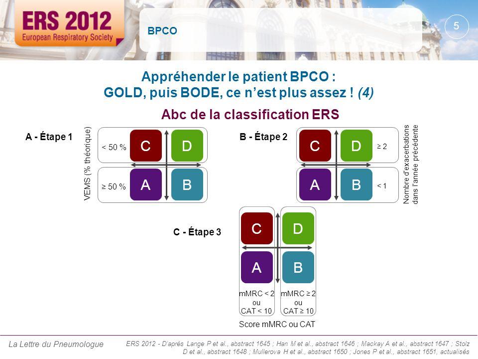 BPCO Appréhender le patient BPCO : GOLD, puis BODE, ce nest plus assez ! (4) ERS 2012 - Daprès Lange P et al., abstract 1645 ; Han M et al., abstract