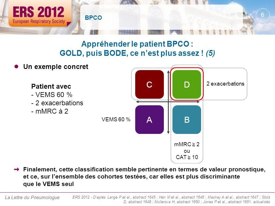 BPCO Un exemple concret Appréhender le patient BPCO : GOLD, puis BODE, ce nest plus assez ! (5) Finalement, cette classification semble pertinente en