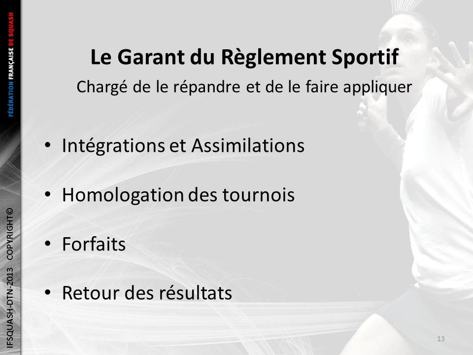 Le Garant du Règlement Sportif Chargé de le répandre et de le faire appliquer Intégrations et Assimilations Homologation des tournois Forfaits Retour des résultats IFSQUASH-DTN-2013 COPYRIGHT© 13