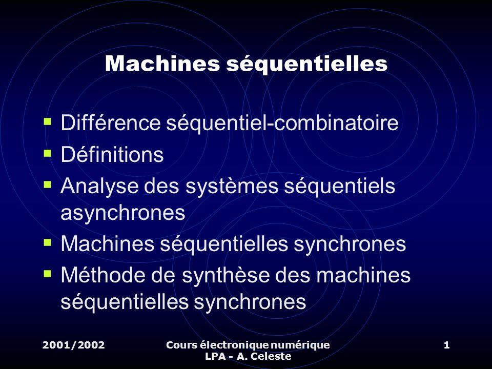 2001/2002Cours électronique numérique LPA - A. Celeste 1 Machines séquentielles Différence séquentiel-combinatoire Définitions Analyse des systèmes sé