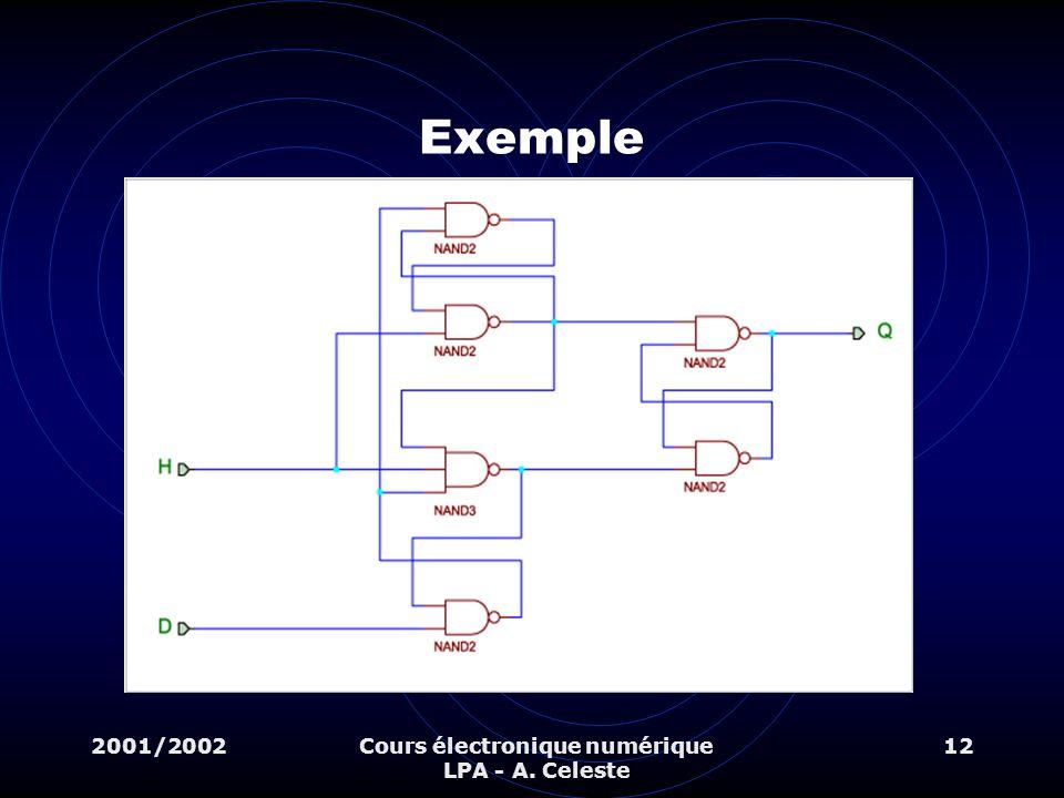 2001/2002Cours électronique numérique LPA - A. Celeste 12 Exemple
