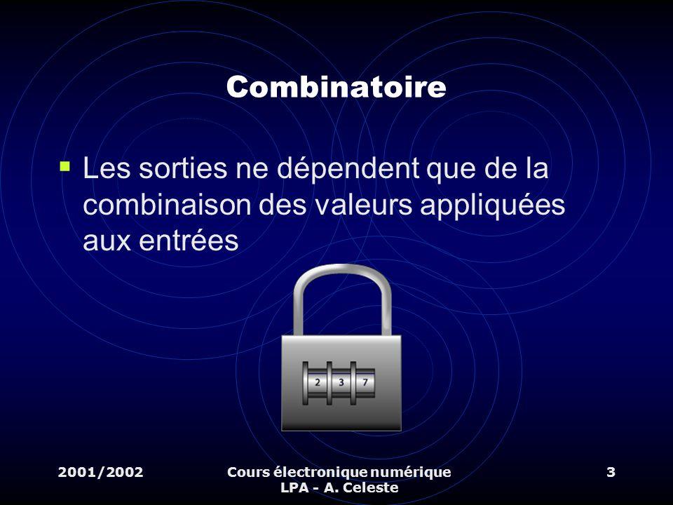 2001/2002Cours électronique numérique LPA - A. Celeste 3 Combinatoire Les sorties ne dépendent que de la combinaison des valeurs appliquées aux entrée