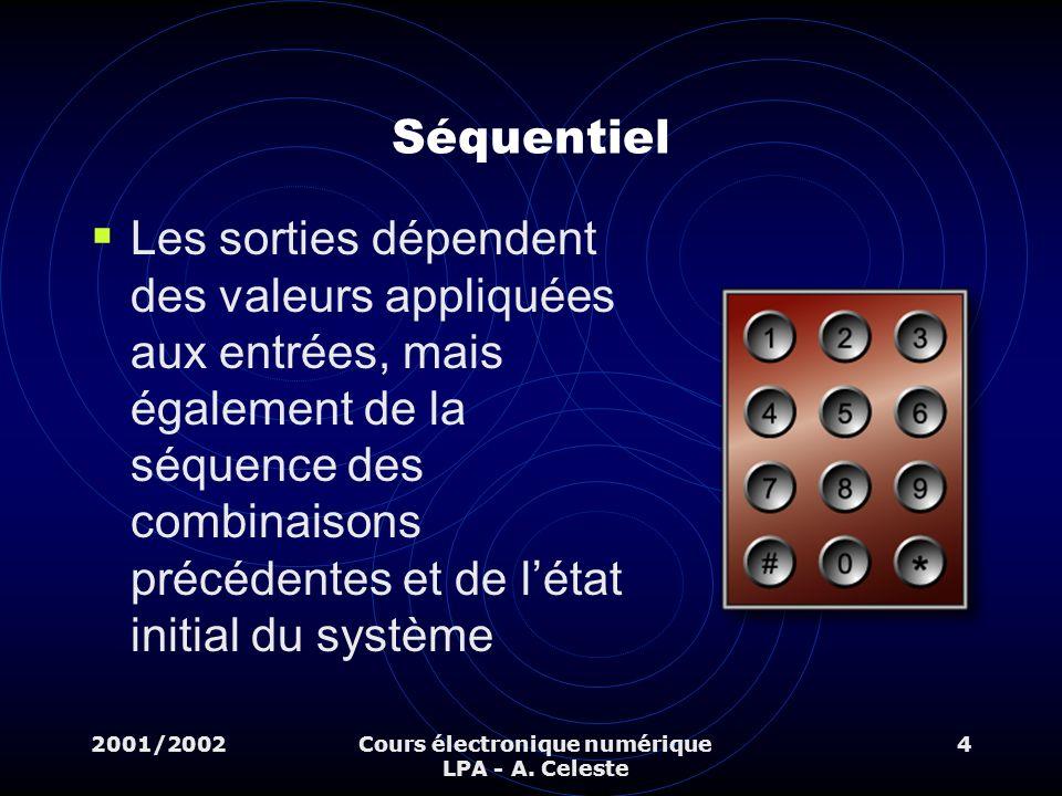 2001/2002Cours électronique numérique LPA - A. Celeste 4 Séquentiel Les sorties dépendent des valeurs appliquées aux entrées, mais également de la séq