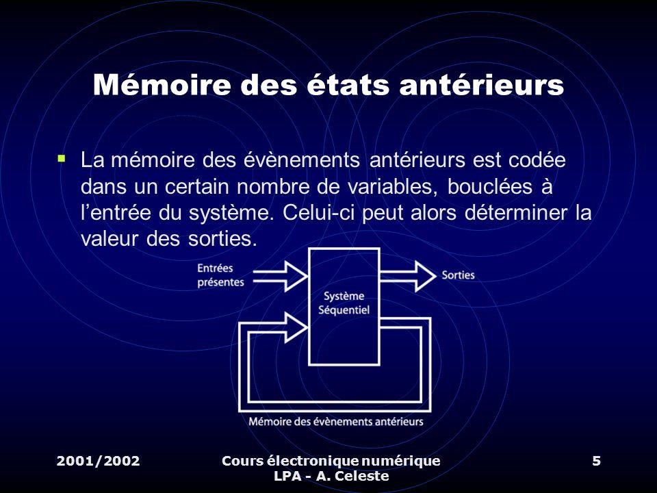 2001/2002Cours électronique numérique LPA - A. Celeste 5 Mémoire des états antérieurs La mémoire des évènements antérieurs est codée dans un certain n