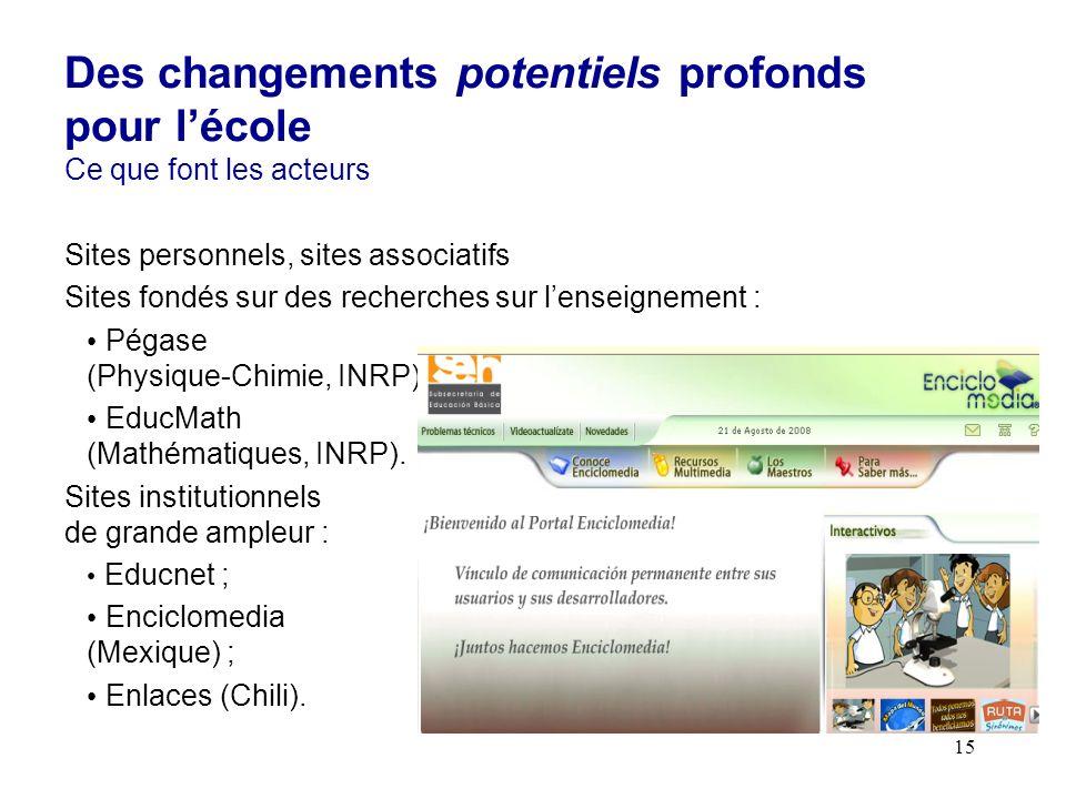 15 Sites personnels, sites associatifs Sites fondés sur des recherches sur lenseignement : Pégase (Physique-Chimie, INRP) ; EducMath (Mathématiques, INRP).