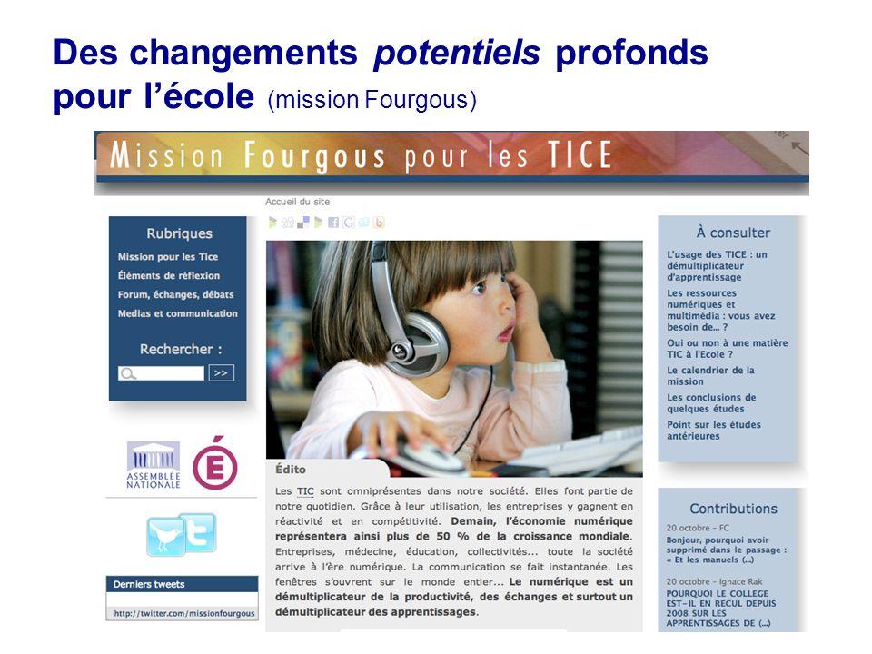 16 Des changements potentiels profonds pour lécole (mission Fourgous)