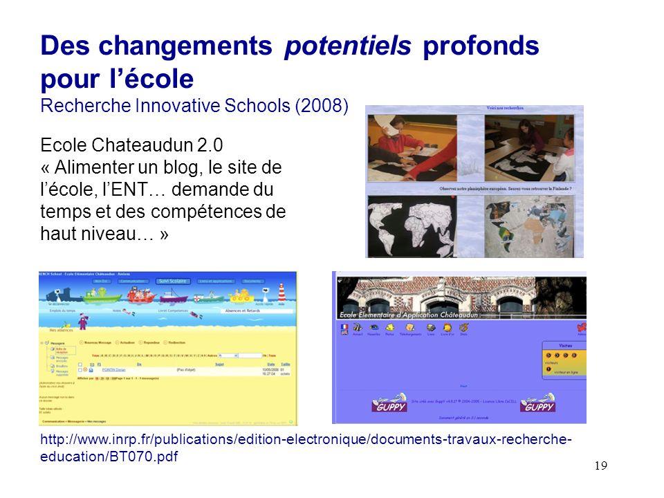 19 Des changements potentiels profonds pour lécole Recherche Innovative Schools (2008) http://www.inrp.fr/publications/edition-electronique/documents-travaux-recherche- education/BT070.pdf Ecole Chateaudun 2.0 « Alimenter un blog, le site de lécole, lENT… demande du temps et des compétences de haut niveau… »
