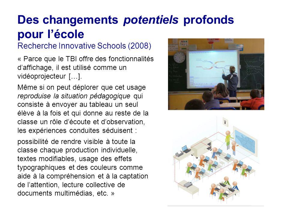 20 Des changements potentiels profonds pour lécole Recherche Innovative Schools (2008) « Parce que le TBI offre des fonctionnalités daffichage, il est utilisé comme un vidéoprojecteur […].