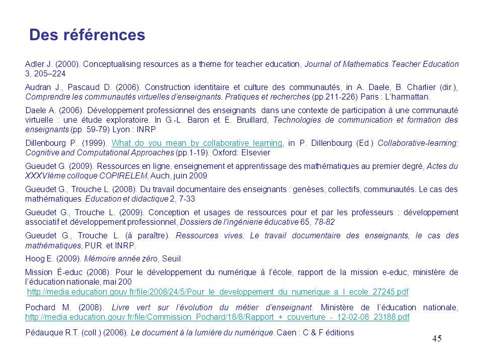 45 Des références Adler J. (2000). Conceptualising resources as a theme for teacher education, Journal of Mathematics Teacher Education 3, 205–224 Aud
