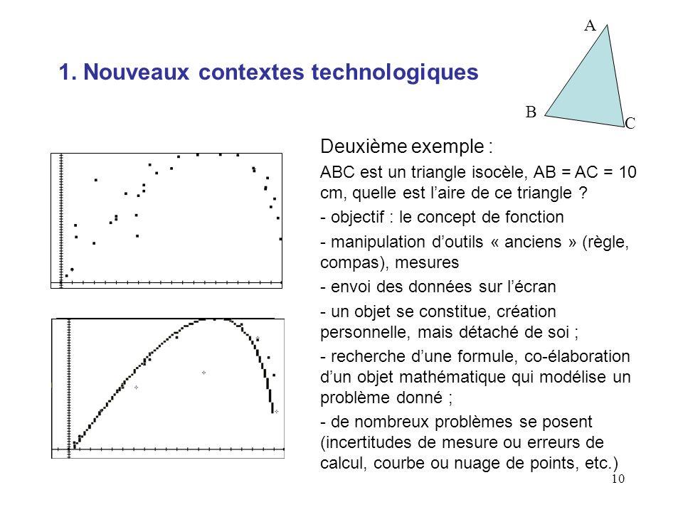 10 Deuxième exemple : ABC est un triangle isocèle, AB = AC = 10 cm, quelle est laire de ce triangle ? - objectif : le concept de fonction - manipulati