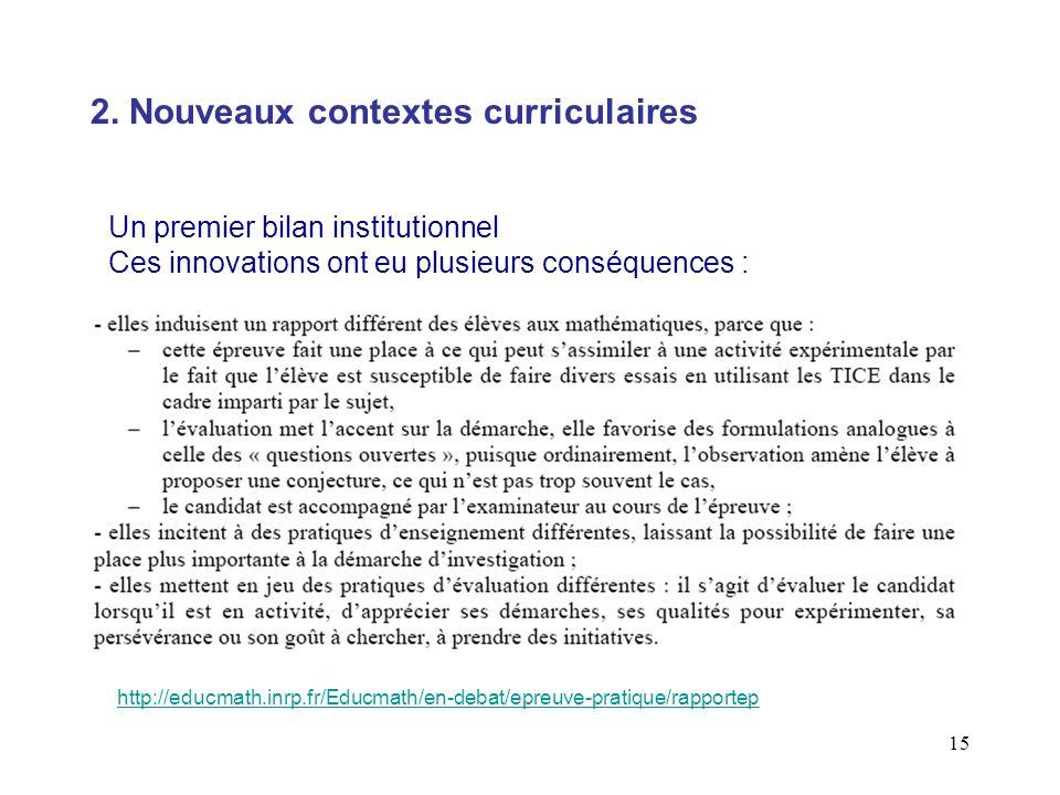 15 Un premier bilan institutionnel Ces innovations ont eu plusieurs conséquences : 2. Nouveaux contextes curriculaires http://educmath.inrp.fr/Educmat