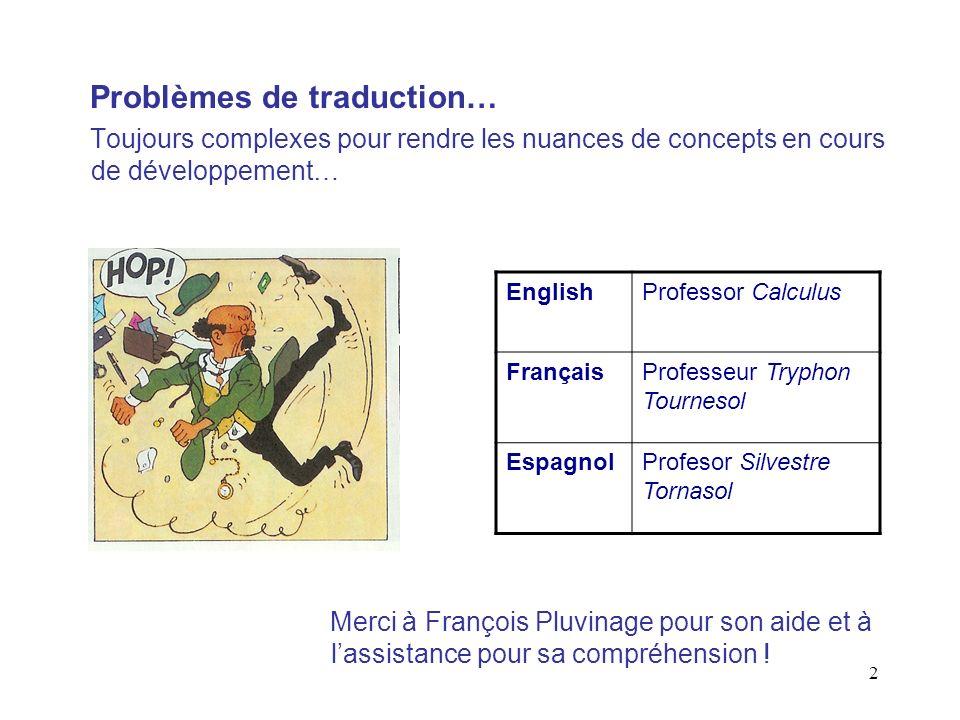 2 Problèmes de traduction… Toujours complexes pour rendre les nuances de concepts en cours de développement… EnglishProfessor Calculus FrançaisProfess