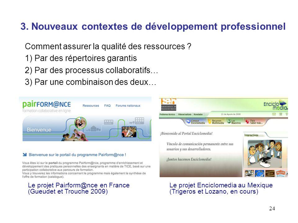24 Comment assurer la qualité des ressources ? 1) Par des répertoires garantis 2) Par des processus collaboratifs… 3) Par une combinaison des deux… 3.