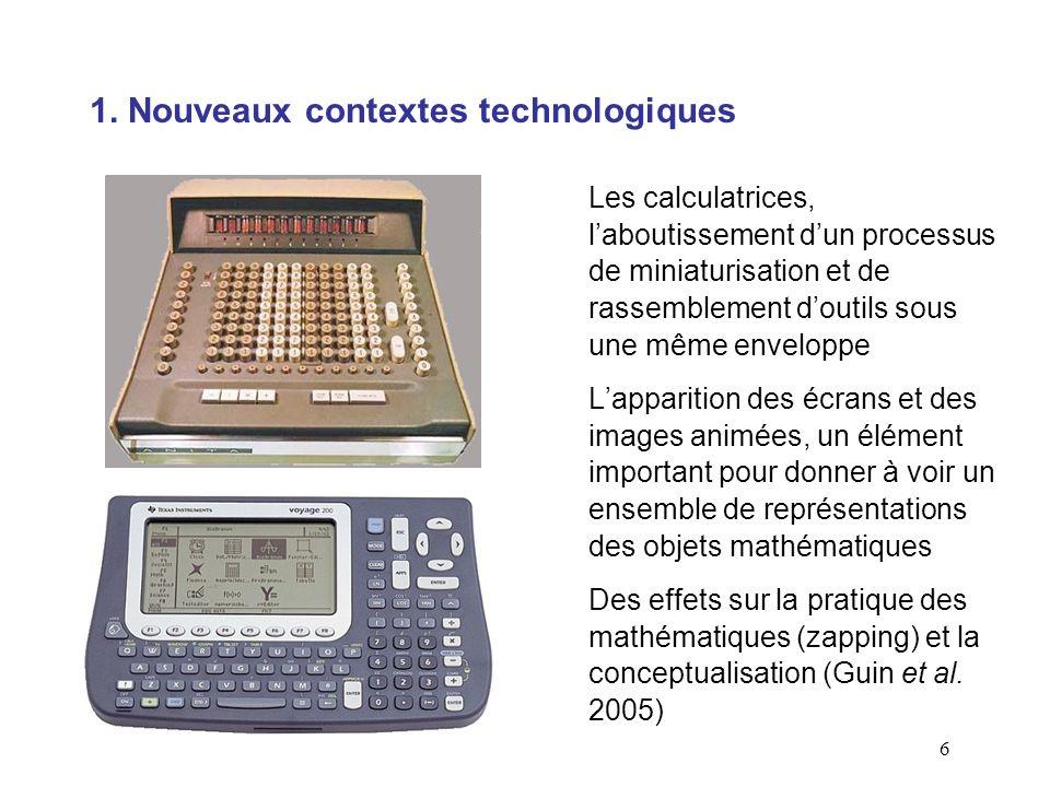 6 1. Nouveaux contextes technologiques Les calculatrices, laboutissement dun processus de miniaturisation et de rassemblement doutils sous une même en