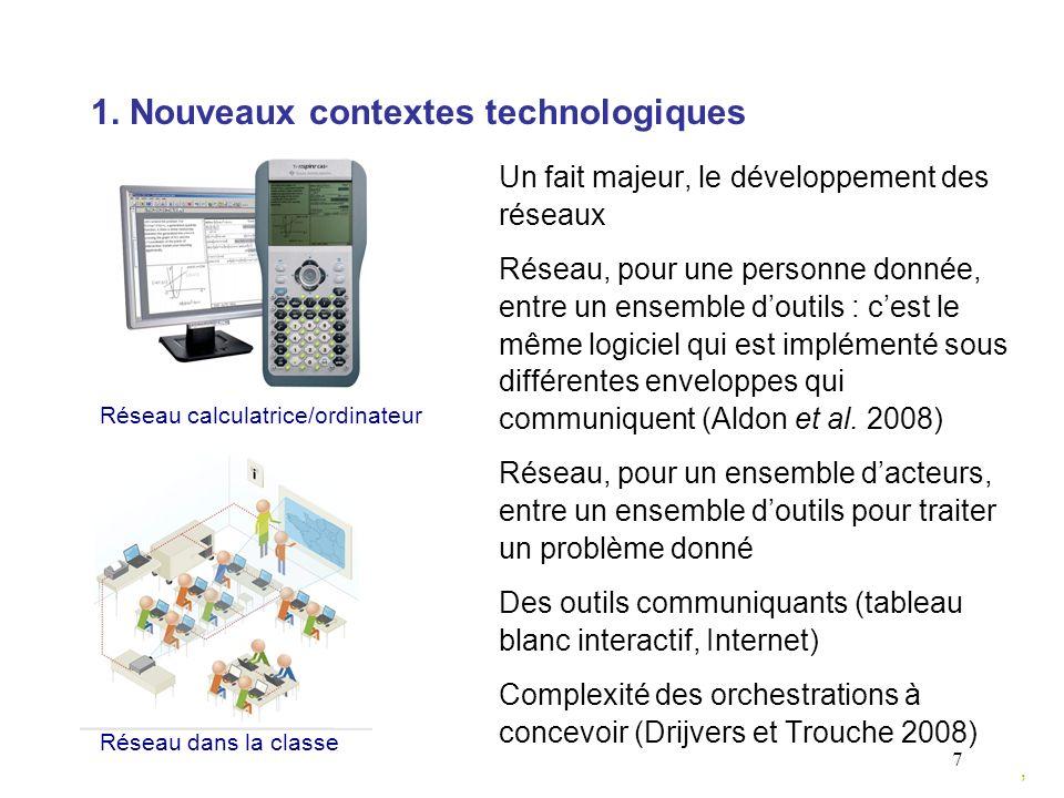 7 1. Nouveaux contextes technologiques Un fait majeur, le développement des réseaux Réseau, pour une personne donnée, entre un ensemble doutils : cest