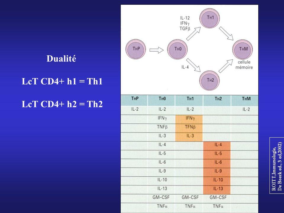 ROITT,Immunologie, De Boeck ed., 3 ed,2002) Dualité LcT CD4+ h1 = Th1 LcT CD4+ h2 = Th2
