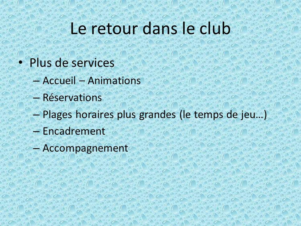 Le retour dans le club Plus de services – Accueil – Animations – Réservations – Plages horaires plus grandes (le temps de jeu…) – Encadrement – Accomp