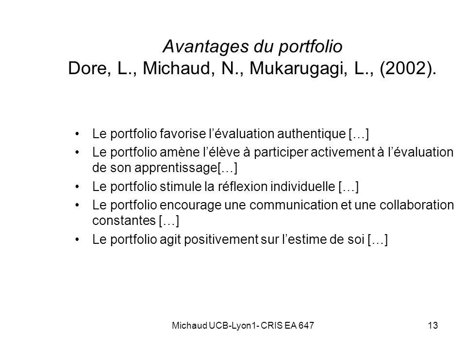 13 Avantages du portfolio Dore, L., Michaud, N., Mukarugagi, L., (2002). Le portfolio favorise lévaluation authentique […] Le portfolio amène lélève à