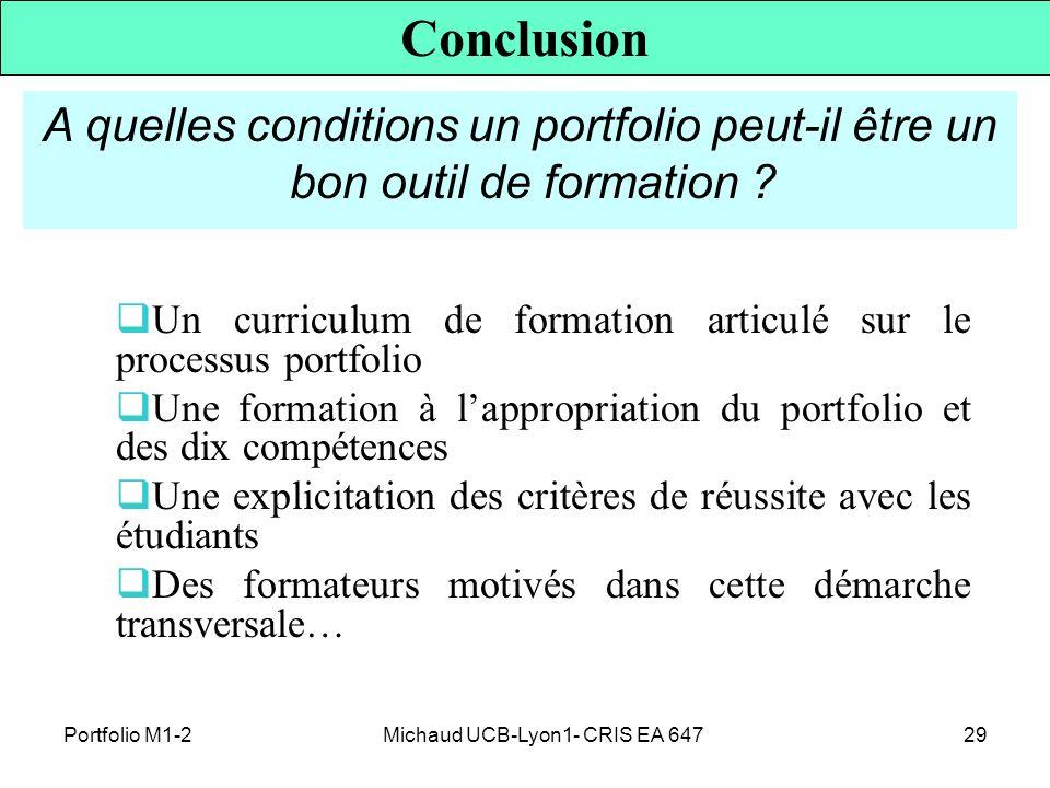 Michaud UCB-Lyon1- CRIS EA 64729 Conclusion Un curriculum de formation articulé sur le processus portfolio Une formation à lappropriation du portfolio