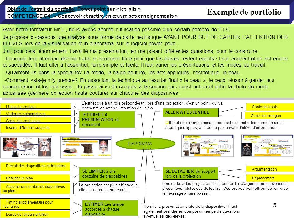 Objet de lextrait du portfolio: Power point sur « les plis » COMPETENCE C4 : « Concevoir et mettre en œuvre ses enseignements » Date: 16/02/09 DIAPORA